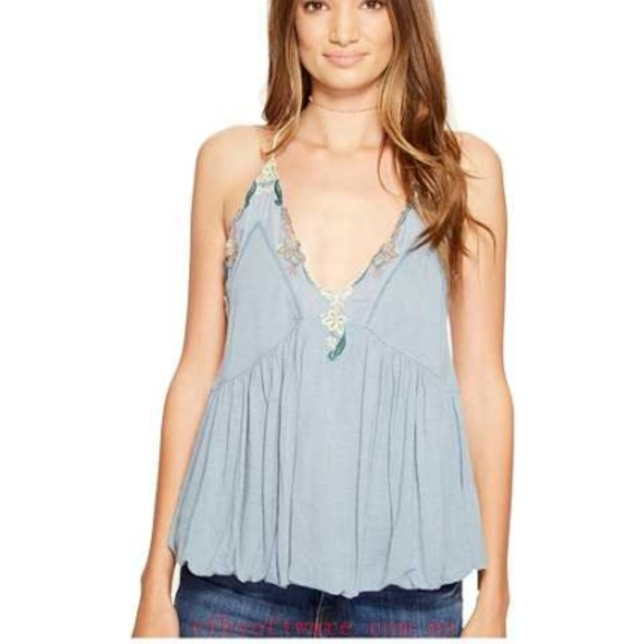 Free People Tops - Free People Island Time Floral Embroidered Top L